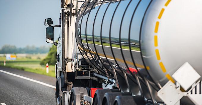 Heavy Transportation Industry. Moving Liquid Shipment.
